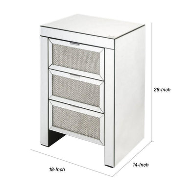 3 Drawer Faux Diamond & Beveled Mirrored Nightstand Silver By Casagear Home BM225700