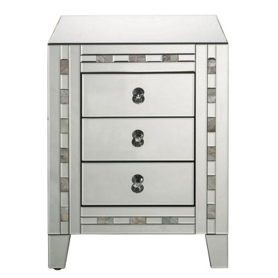 26 3 Drawer Beveled Nightstand with Pearl Inlay Silver By Casagear Home BM225702