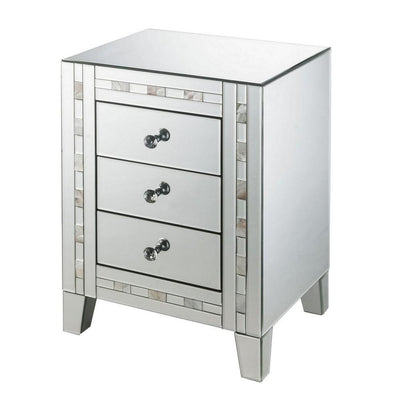 "26"" 3 Drawer Beveled Nightstand with Pearl Inlay, Silver By Casagear Home"