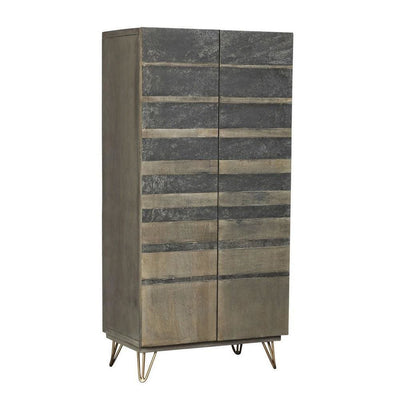 "55"" Stripped Stain Design 2 Door Wood Wardrobe, Gray & Brown By Casagear Home"
