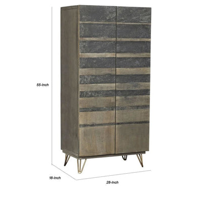 55 Stripped Stain Design 2 Door Wood Wardrobe Gray & Brown By Casagear Home BM225723