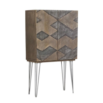 "55"" Abstract Pattern 2 Door Wood Wardrobe, Gray & Brown By Casagear Home"