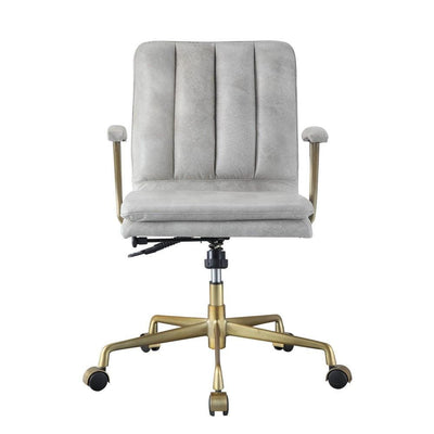 34 Adjustable Leatherette Swivel Office Chair Gray & Gold By Casagear Home BM225727