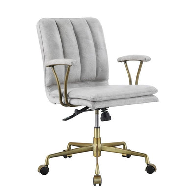 "34"" Adjustable Leatherette Swivel Office Chair, Gray & Gold By Casagear Home"