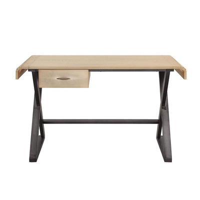 31 Rectangular Desk with X Trestle Base Gold and Black By Casagear Home BM225728