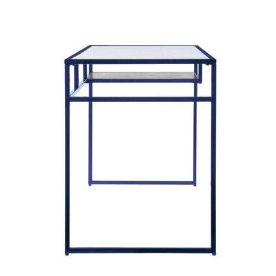 46 Rectangular Glass Top Desk with Open Compartment Blue By Casagear Home BM225733