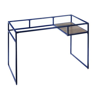 "46"" Rectangular Glass Top Desk with Open Compartment, Blue By Casagear Home"