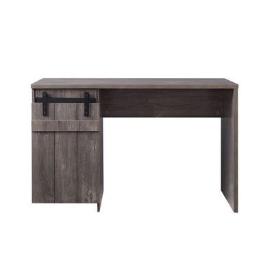 47 Farmhouse Wooden Desk with Barn Door Storage,Washed Gray By Casagear Home BM225737