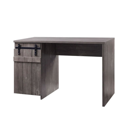 "47"" Farmhouse Wooden Desk with Barn Door Storage,Washed Gray By Casagear Home"