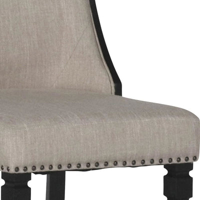 Padded Arm Chair with Nailhead Trim Set of 2 Beige & Black By Casagear Home BM225815