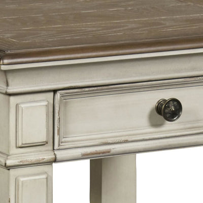24 Dual Tone 1-Drawer End Table with Moldings,Brown & White By Casagear Home BM225821