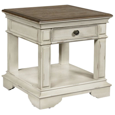 "24"" Dual Tone 1-Drawer End Table with Moldings,Brown & White By Casagear Home"