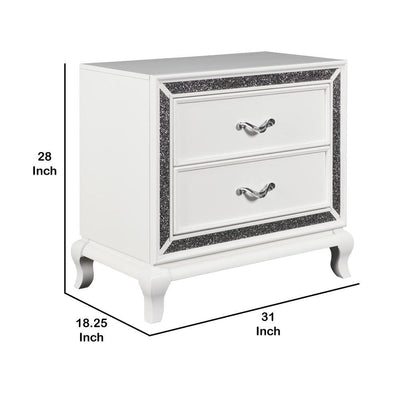 28 Faux Crystal Accented 2-Drawer Wooden Nightstand White By Casagear Home BM225823