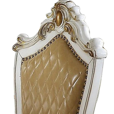 Carved Leatherette Counter Height Chair,Set of 2,White & Beige By Casagear Home BM225949