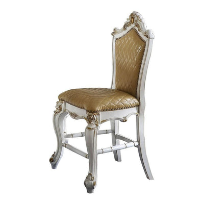 Carved Leatherette Counter Height Chair,Set of 2,White & Beige By Casagear Home