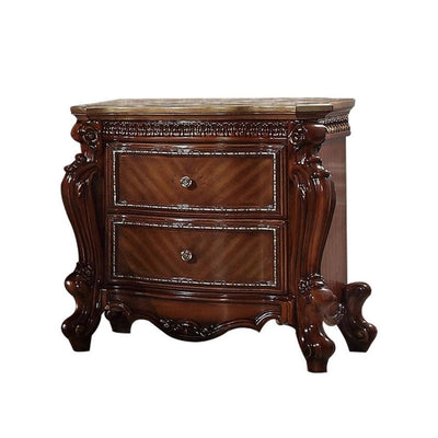 "31"" 2-Drawer Wooden Nightstand with Carved Details, Brown By Casagear Home"