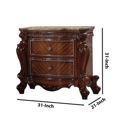 31 2-Drawer Wooden Nightstand with Carved Details Brown By Casagear Home BM225950