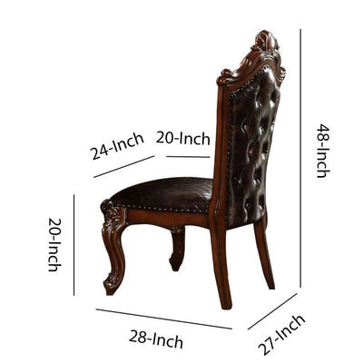 Leatherette Side Chair with Diamond Tufted Back,Set of 2,Brown By Casagear Home BM225956
