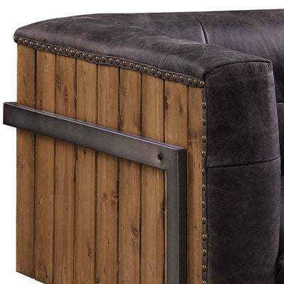 Leatherette Accent Chair with Plank Style Wooden Body Brown By Casagear Home BM225960