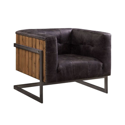 Leatherette Accent Chair with Plank Style Wooden Body, Brown By Casagear Home