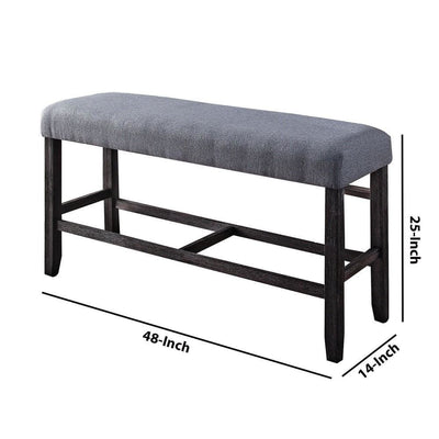 48 Fabric Counter Height Bench with Padded Seat,Gray & Brown By Casagear Home BM225972