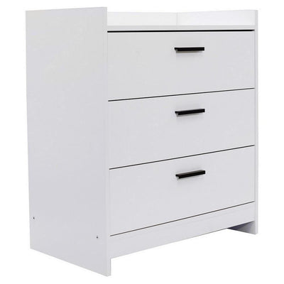 3 Drawer Wooden Chest with Sled Base, Glossy White By Casagear Home