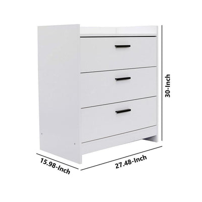 3 Drawer Wooden Chest with Sled Base Glossy White By Casagear Home BM226074