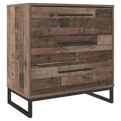 3 Drawer Wooden Chest with Metal Legs, Brown and Black By Casagear Home