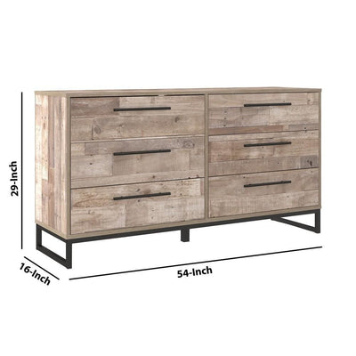6 Drawer Wooden Dresser with Metal Legs Washed Brown and Black By Casagear Home BM226079