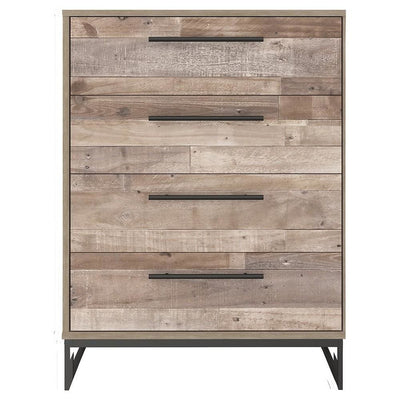 4 Drawer Wooden Chest with Metal Legs Washed Brown and Black By Casagear Home BM226081