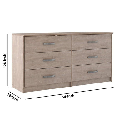 6 Drawer Wooden Dresser with Sled Base Beige By Casagear Home BM226083