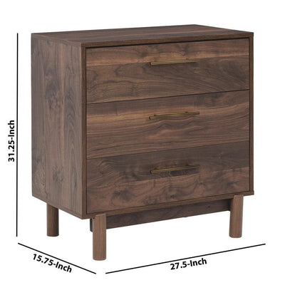 3 Drawer Wooden Chest with Grain Details and Block Legs Brown By Casagear Home BM226088