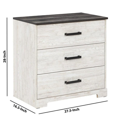 3 Drawer Wooden Chest with Grain Details White and Gray By Casagear Home BM226092
