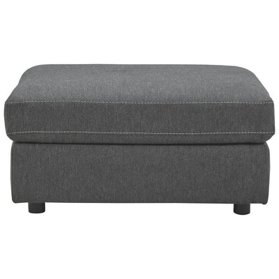 Fabric Oversized Accent Ottoman with Contrast Stitching Dark Gray By Casagear Home BM226125