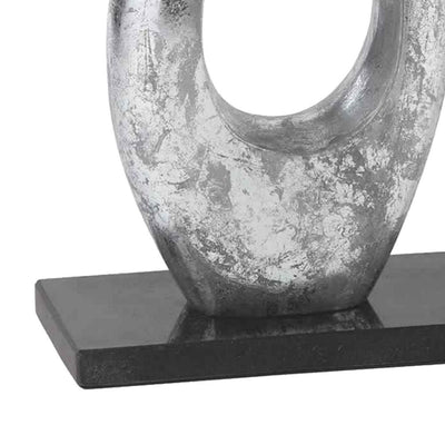 Swan Design Metal Sculpture with Marble Block Base Silver and Black By Casagear Home BM226132