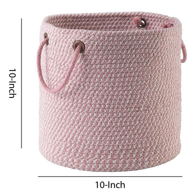 Round Shaped Fabric Basket with Braided Handles Pink and White By Casagear Home BM226135