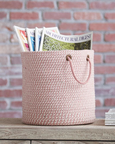 Round Shaped Fabric Basket with Braided Handles, Pink and White By Casagear Home