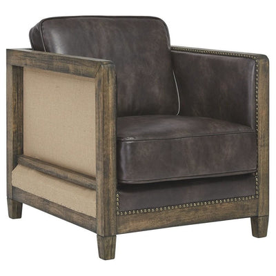 Square Fabric Accent Chair with Wooden Track Arms and Nailhead Trim, Brown By Casagear Home