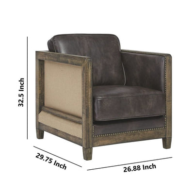 Square Fabric Accent Chair with Wooden Track Arms and Nailhead Trim Brown By Casagear Home BM226142