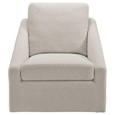 Fabric Accent Chair with Swivel Base and Shelter Style Arms Cream By Casagear Home BM226143