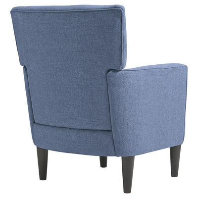 Fabric Accent Chair with Track Arms and Round Tapered Legs Blue By Casagear Home BM226146