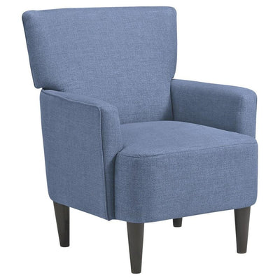 Fabric Accent Chair with Track Arms and Round Tapered Legs, Blue By Casagear Home