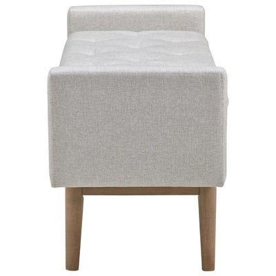 Tufted Fabric Storage Bench with Low Profile Elevated Arms Light Gray By Casagear Home BM226158