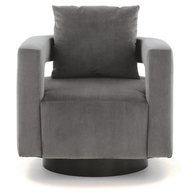 Swivel Fabric Upholstered Accent Chair with Curved Open Back and Arms Gray By Casagear Home BM226163