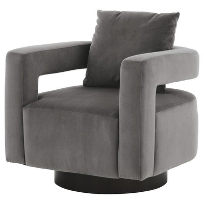 Swivel Fabric Upholstered Accent Chair with Curved Open Back and Arms, Gray By Casagear Home