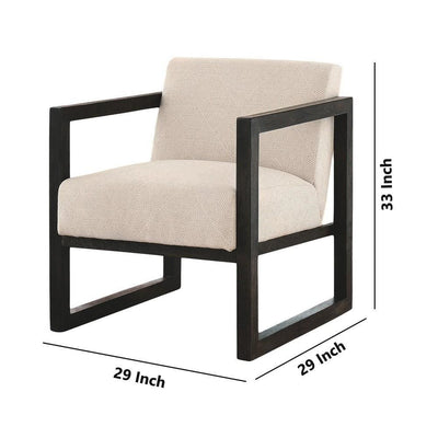 Fabric Accent Chair with Open Wooden Arms and Extended Sled Base Beige By Casagear Home BM226164