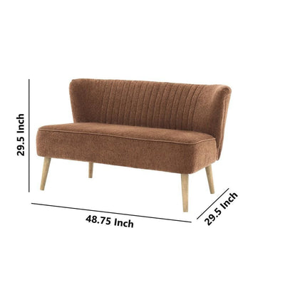 Curved Channel Stitched Fabric Accent Bench with Wooden Legs Brown By Casagear Home BM226166
