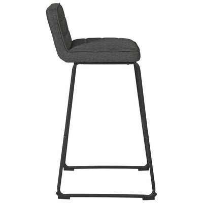 40 Inch Channel Stitched Low Fabric Barstool with Sled Base Set of 2 Gray By Casagear Home BM226194