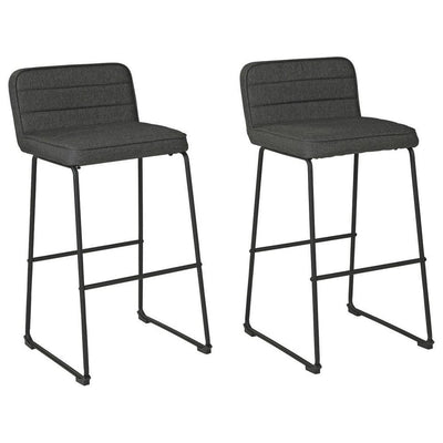 40 Inch Channel Stitched Low Fabric Barstool with Sled Base, Set of 2, Gray By Casagear Home