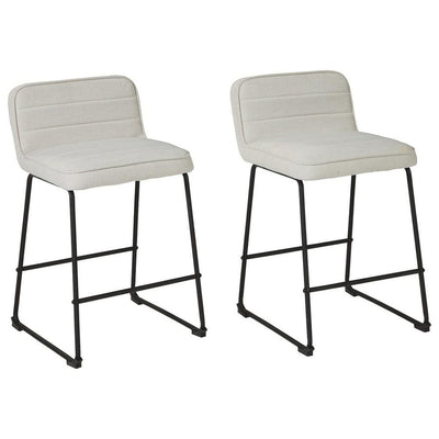 Channel Stitched Low Back Fabric Barstool with Sled Base, Set of 2, White By Casagear Home